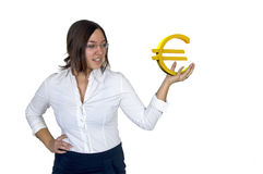 Holding a euro stock photo