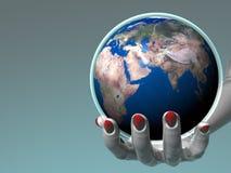 holding för africa jordEuropa hand Royaltyfria Bilder