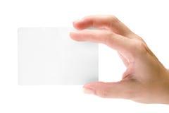 holding för blankt kort arkivfoto