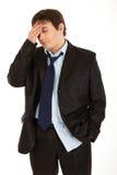 holding för huvudvärk för affärsmanhandhuvud Royaltyfria Bilder