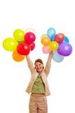 Holding felice della donna di affari Fotografie Stock Libere da Diritti