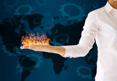 Holding fire on her hand Royalty Free Stock Image