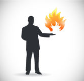Holding fire. illustration design. Over a white background Royalty Free Stock Photos