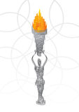 Holding the flaming torch Stock Images