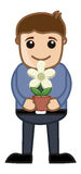 Holding a Flower Pot in Hands Vector Illustration Royalty Free Stock Photography
