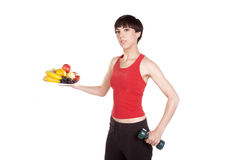 Holding fruit weight Royalty Free Stock Photography