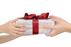 Holding gift Royalty Free Stock Photography