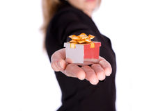Holding gift Royalty Free Stock Image