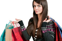 Holding gift bags Stock Images