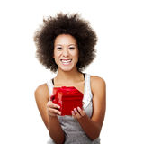 Holding a gift Royalty Free Stock Photos