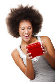 Holding a gift Royalty Free Stock Images