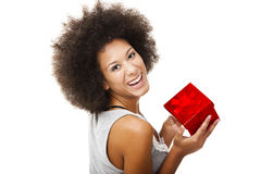 Holding a gift Stock Photography