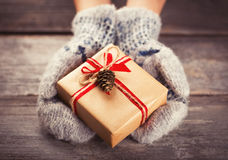 Holding a gift box Royalty Free Stock Photo