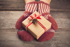 Holding a gift box Stock Image