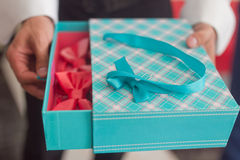 Holding a gift box royalty free stock photos