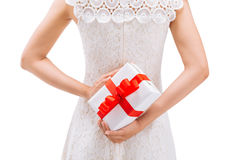 Holding gift box Stock Photography