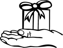 holding a gift vector illustration Royalty Free Stock Photos