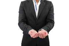 Holding, giving, receiving or showing hand sign Royalty Free Stock Photo