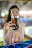 Holding glass Stock Photography
