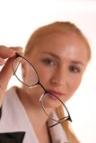 Holding Glasses. Lady holding glasses in her hand Royalty Free Stock Photos