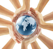 Holding globe in his hand Royalty Free Stock Photography