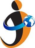 Holding globe logo. Illustration art of a holding globe logo with isolated background Royalty Free Stock Photo