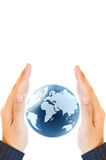 Holding a glowing earth globe in his hands. Isolate on white Royalty Free Stock Photography