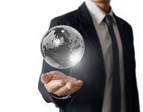 Holding a glowing earth globe in his hands. Earth image provided Royalty Free Stock Images