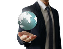 Holding a glowing earth globe in his hands. Earth image provided Royalty Free Stock Photos