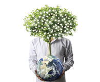 Holding a glowing  earth (NASA) globe Royalty Free Stock Image