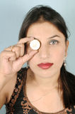 Holding gold coin Royalty Free Stock Photography