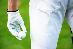 Holding golf ball on hand royalty free stock image