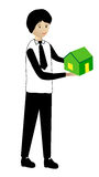 Holding a green house. Man holding a green house vector illustration