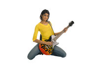 Holding guitar and looking seriously Royalty Free Stock Photo
