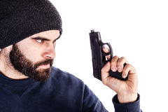 Holding a gun Stock Image