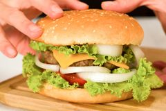 Holding a hamburger. Woman holding home made hamburger Stock Images