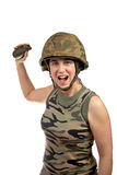 Holding a hand grenade Royalty Free Stock Images