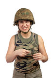 Holding a hand grenade Royalty Free Stock Photography