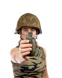 Holding a hand grenade Stock Image