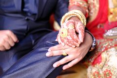 Holding hand indian married couple Stock Photography