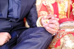 Holding hand indian married couple Royalty Free Stock Photos