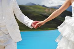 Holding Hands. Bride and groom's hand are holding together Royalty Free Stock Image
