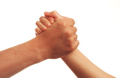 Holding hands. Man and woman holding hands together isolated on white Royalty Free Stock Image