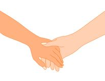 Holding hands. Lovers holding hands together illustration isolated on white background Stock Image