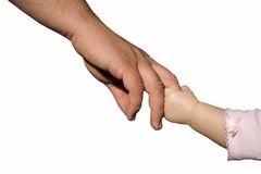 Holding Hands. Little girl holding her daddy's hand Royalty Free Stock Photo