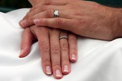 Holding Hands. Closeup of a Groom clasping his Bride's hand Stock Images
