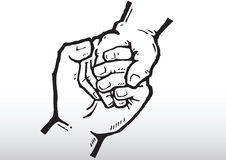 Holding hands. Hand drawn illustration of 2 hands holding together Royalty Free Stock Photos