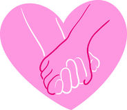 Holding hands. A simple drawing of hands holding in a pink heart Stock Photos
