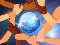 Holding Hands Around The Globe. On the Blue Background Stock Images