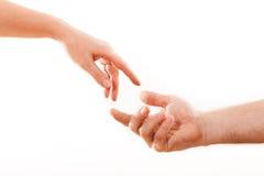 Holding hands couple on white background. Stock Photo